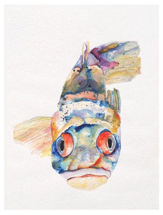 Blue Fish Canvas Giclee Print