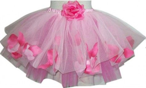 Pink rose petal tutu with a flower and the waist.