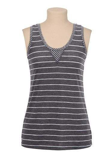 Mixed Stripe Racerback Tank available at #Maurices