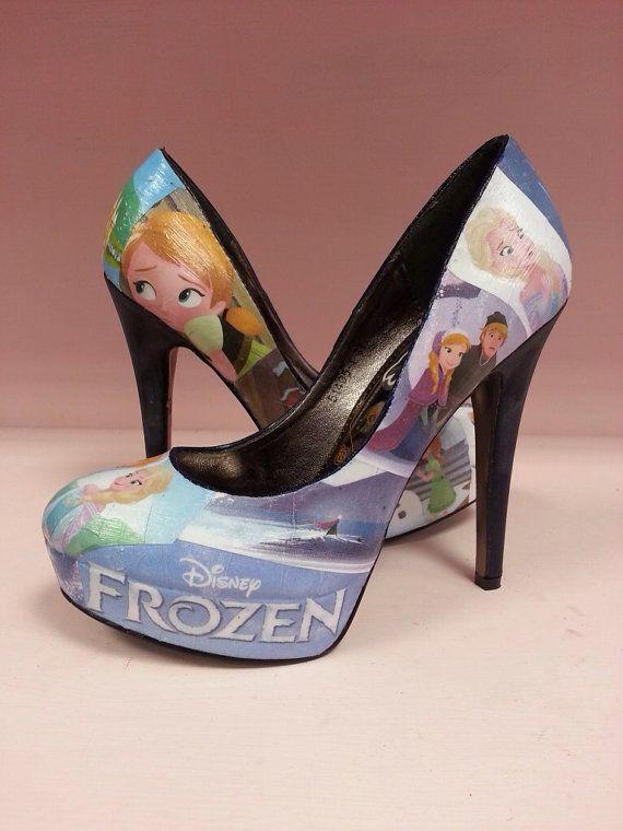 Disney Frozen customised heels/shoes - UK Size 4 (US Size 6)