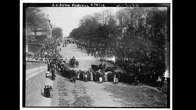 The body of John Jacob Astor IV (Body No. 124), was recovered by the MacKay-Bennett.  This photo shows Astor's funeral in New York. Astor's body had been given to the care of a Mr. N. Biddle and forwarded to New York on May 1, 1912. J.J. Astor was the richest person aboard Titanic. At the time of the  sinking, his young wife, 19-year-old Madeleine Force, was pregnant, she gave birth to a son, John Jacob Astor VI, Aug. 14, 1912, exactly four months after the sinking of Titanic. (LIBRARY OF…
