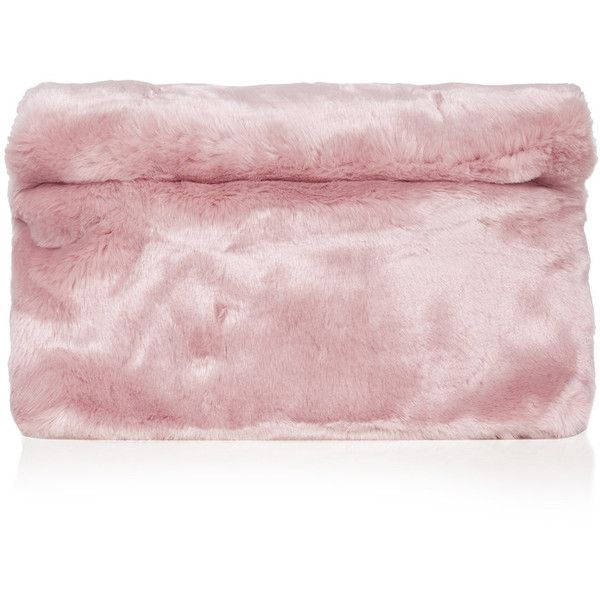 TOPSHOP Faux Fur Roll-Top Clutch ($50) ❤ liked on Polyvore featuring bags, handbags, clutches, accessories, topshop, fur, pink, oversized clutches, pink clutches e pink purse