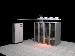 Blussysteem serverkast. ICT brandblussysteem ook geschikt voor andere kasten en objecten in computerruimten, PLC ruimten en andere technische ruimten, kasten. Detectie en signalering op basis van tresholds (dust-temp-temp-stijging). Automatische blussing met het gasvormig N2 (stikstof). Blussen per serverkast en zelfs per serverrack-server mogelijk.