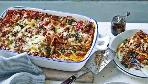 Express lasagne |      Mary Berry's wonderfully different take on lasagne is super quick, perfect for a midweek supper. Equipment and preparation: for this recipe you will need a shallow 2¼ litre/4 pint ovenproof dish measuring about 30x20cm/12x8in and 6cm/2½in deep.