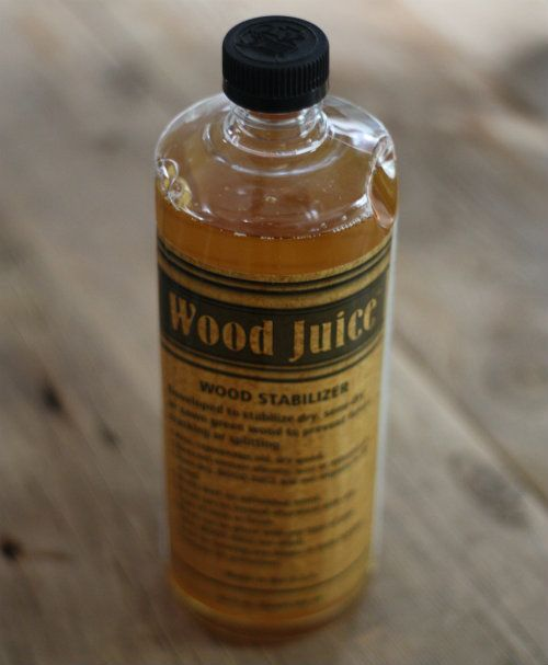 The expert at the Woodcraft store (along with my woodworker friend) recommended we use Wood Juice. Honestly, we were sold on the name alone, not to mention the fact it boasts being able to prevent checking, cracking and warping in wood.
