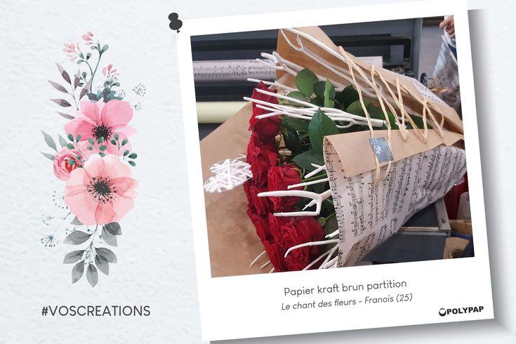 St Valentin - Composition bouquet roses dans papier kraft brun partition