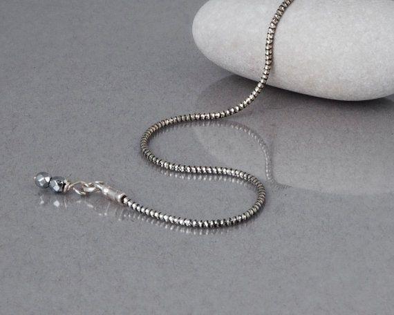 Oxidiertes Silber Halskette einfache Kette Halskette von Tooliks