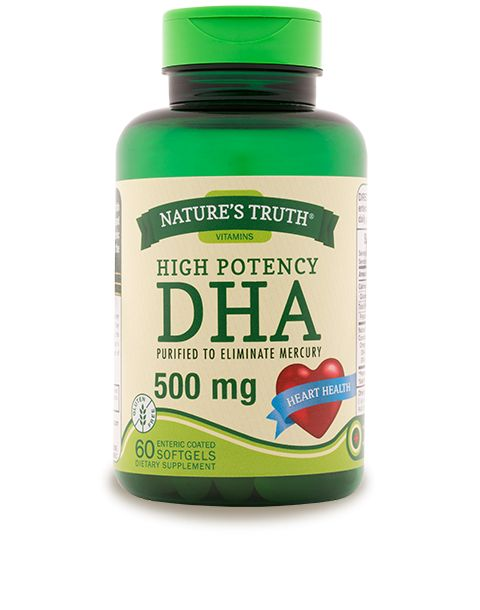 DHA is an essential Omega-3 fatty acid found in fish oils. It promotes healthy nerve development and helps maintain normal brain function.* The enteric coating is designed to digest in the intestine, not the stomach, to avoid fishy aftertaste.