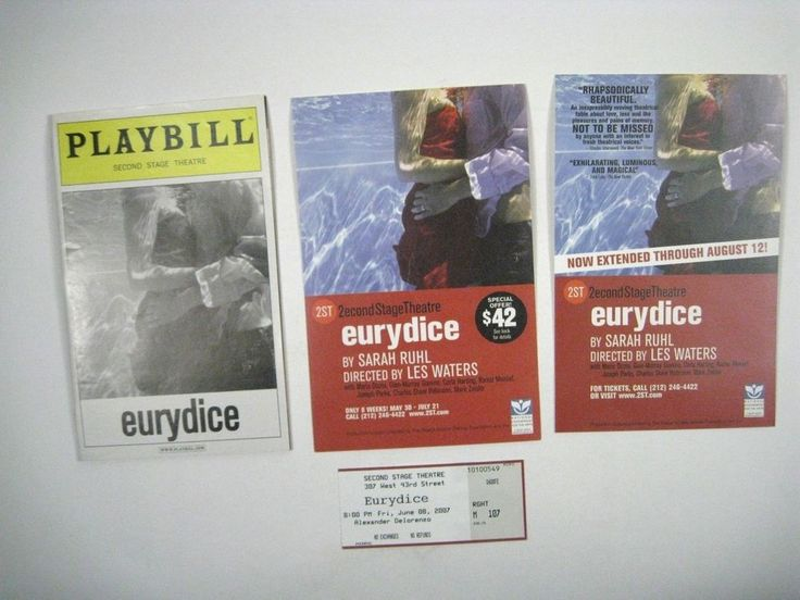eurydice Playbill 2007 Second Stage Theatre Ticket Carla Harting Joseph Parks