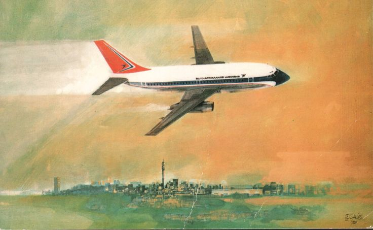 South African Airways 737 postcard