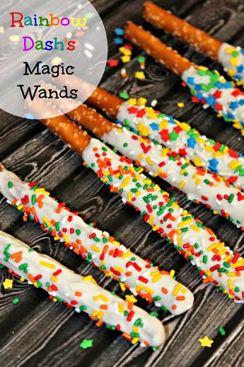 "Rainbow Dash's ""Magic Wands"" Chocolate-Dipped Pretzel Rods for a My Little Pony Birthday Party"