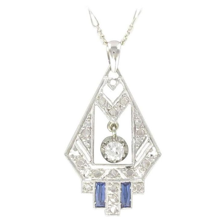 1925s French Art Deco Diamond Pendant  | From a unique collection of vintage pendant necklaces at https://www.1stdibs.com/jewelry/necklaces/pendant-necklaces/