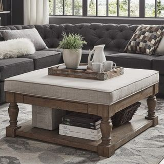 Lennon Baluster Pine Storage Tufted Cocktail Ottoman by iNSPIRE Q Artisan | Overstock.com Shopping - The Best Deals on Ottomans
