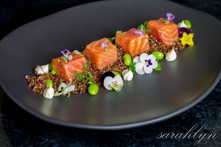 The perfect opportunity to use my beautiful new Glenn Tebble Homewares plate by Glenn Tebble. My take on the MasterChef Australia ~ Salmon Sashimi with Quinoa and Edamame team challenge.