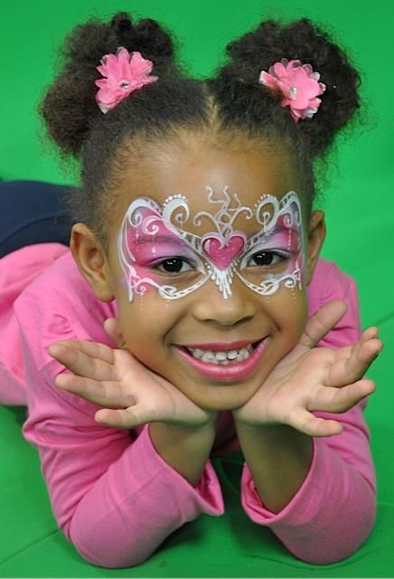 artist Heather Green (Silly Farm) -- Valentine's/heart face painting mask; pink; filigree
