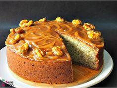Resipi Kek Pisang dengan Sos Karamel dan Buah Kenari Berkaramel