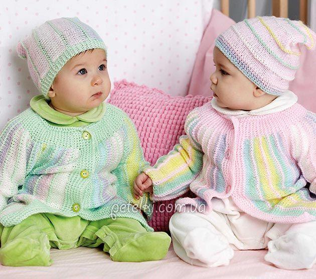 Комплекты спицами для деток 9-12 месяцев. Описание вязания