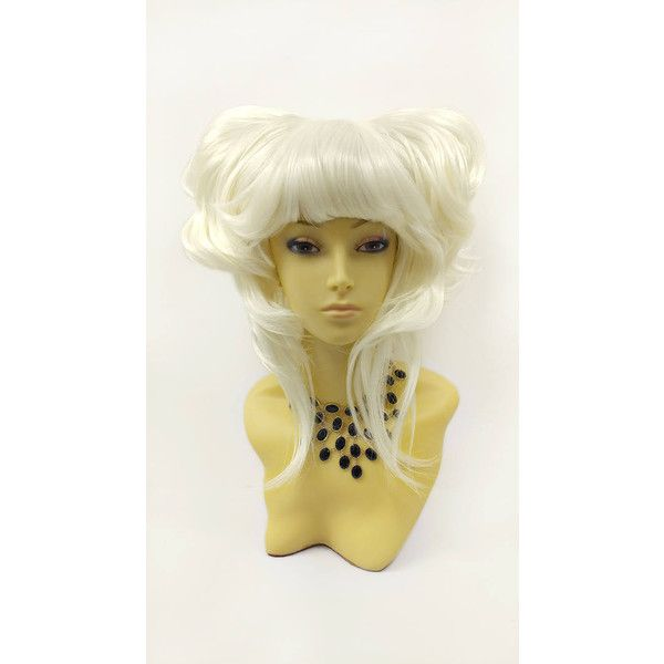 Petite Platinum Blonde Short Double Pouf Poof Wig Anime Cosplay Wig... ($46) ❤ liked on Polyvore featuring costumes, bath & beauty, hair care, silver, wigs, animal costumes, wig costume, cosplay costumes, cosplay halloween costumes and role play costumes