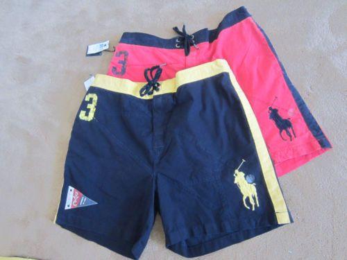 Ralph Lauren Mens Red Or Navy Swim Trunks Swimwear Large