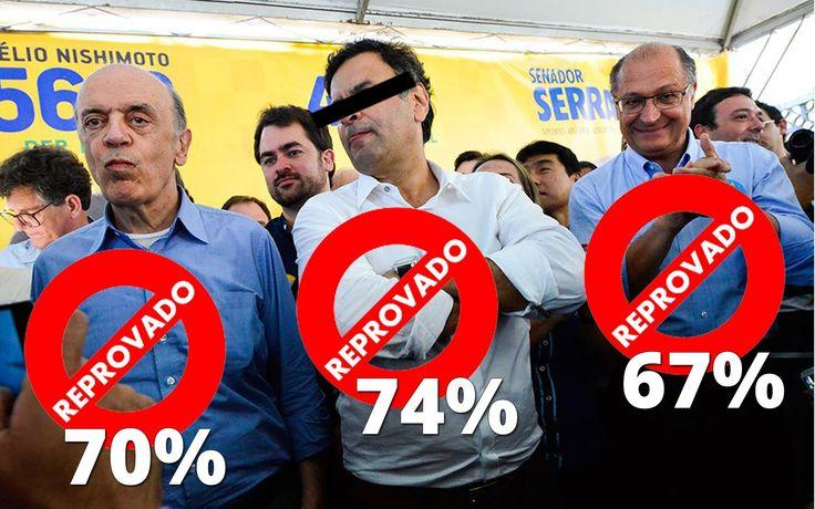 """Embora o PSDB ainda não tenha sido formalmente atingido pela Lava Jato, a descoberta de que seus principais nomes se beneficiaram dos esquemas da Odebrecht e de outras empreiteiras destruíram a imagem de seus três principais presidenciáveis; de acordo com a pesquisa Ipsos, divulgada nesta quinta-feira, Aécio Neves, o """"Mineirinho"""", José Serra, o """"Careca"""", e Geraldo Alckmin, o """"Santo"""", estão entre os três políticos mais impopulares d"""