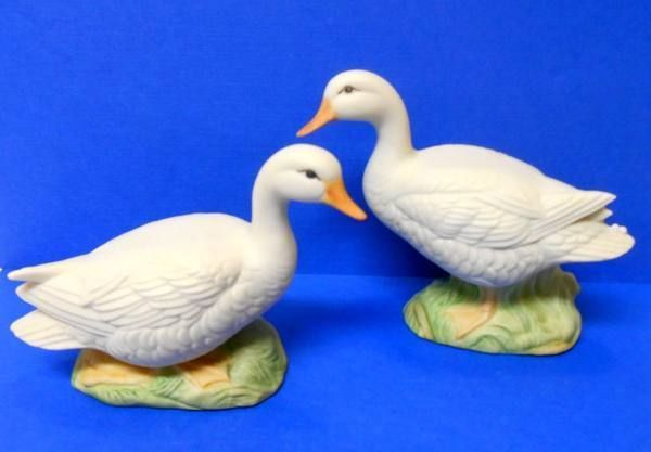 """Set of 2 WHITE DUCK FIGURINES Lot, Ceramic Bisque, 3.50"""" & 4"""" tall"""