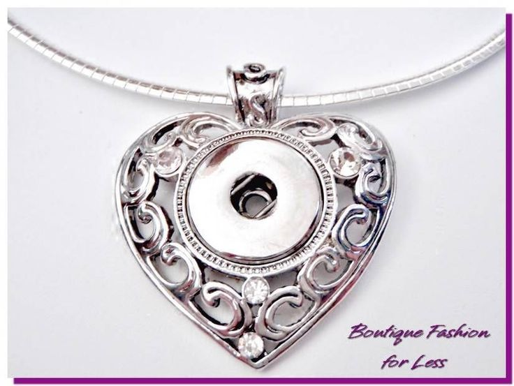 """Snaps Chunk Charm Silver Heart Wings Pendant with Crystal or 18"""" Premium Chain #BoutiqueFashion #Pendant"""