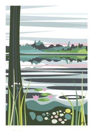 Mantjärn, poster by Wallmark Formstudio #nordicdesigncollective #summer #sommar #hellosummer #green #nature #season #vacation #warm #sun #sunshine #sunny #mantjarn #wallmarkformstudio #wallmark #jennywallmark #sweden #nature #pond #waterlily #lily #flower #sky #tree #forest #fish #grass #green #pink #blue #white #poster #print #illustration