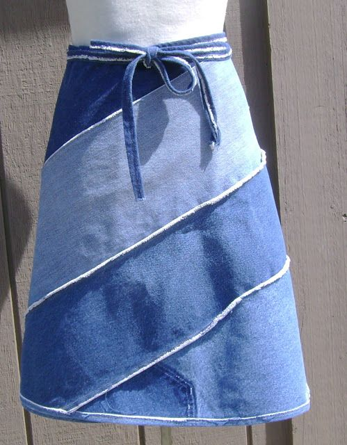 Thoughts From a Seamstress: Denim Wrap Skirt from repurposed Jeans
