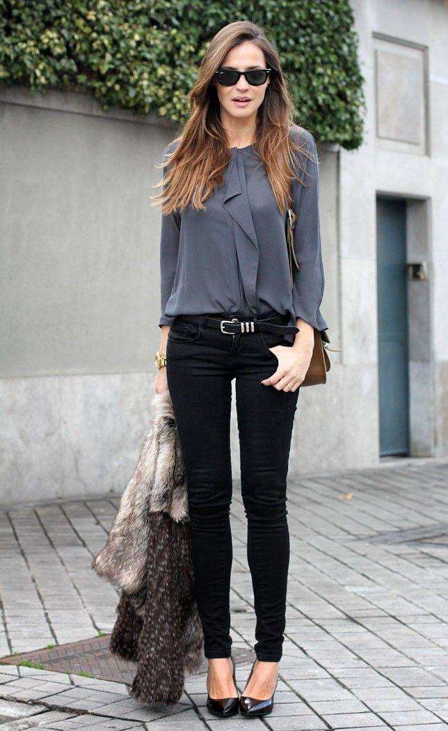 work fashion grey blouse black skinny jeans combo