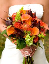 Wedding, Orange, Brown, Bride bouquets, Fall wedding flowers decor