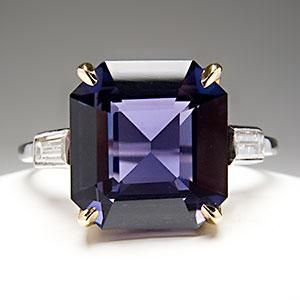 3.9 CARAT COLOR CHANGE SAPPHIRE ENGAGEMENT RING W/ BAGUETTE DIAMONDS PLATINUM & 18K AGTA CERTIFIED