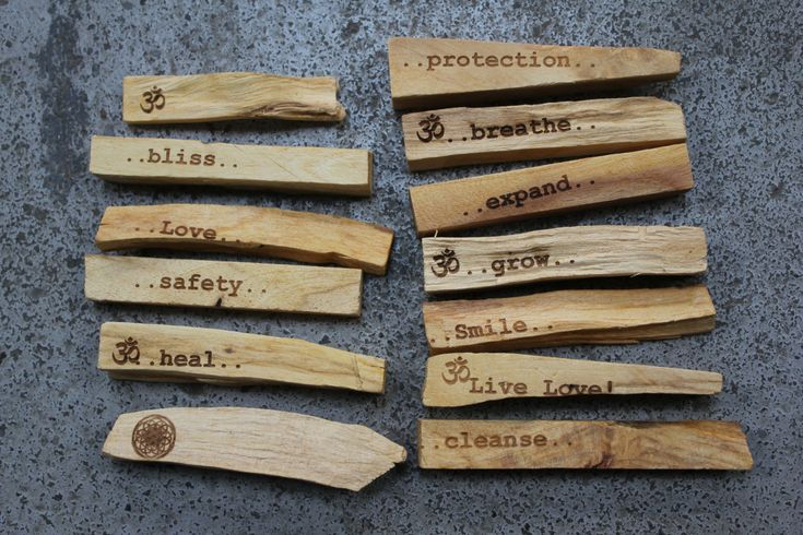 Palo Santo with Intention. $8.00, via Etsy. - fun to do with driftwood/salvaged wood and a wood burning tool with the kids