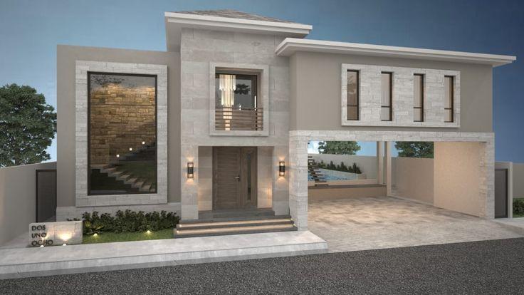 Busca imágenes de diseños de Casas estilo moderno}: Fachada principal / Poniente.. Encuentra las mejores fotos para inspirarte y y crear el hogar de tus sueños.