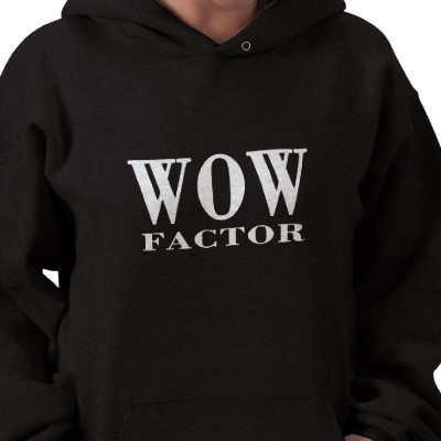 WOW FACTOR. Cool and Stylish Women's Black Hooded Sweatshirt. Wear it with style!