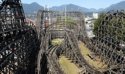 The Wooden Roller Coaster at Playland, Vancouver BC. After the first climb it runs on momentum with only a waist bar to keep you in. A great ride - lots of fun!