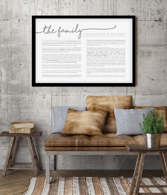 Extra Large Family Proclamation- Horizontal Print (36 x 24) great as an anchor piece on your gallery wall or in a set with the Living Christ or Articles of Faith Print. Modern font with different parts emphasized makes it more inviting to read. And the horizontal layout make it extra unique!  Its printed on extra fine 24 lb paper. Matte Finish. Available in Gray or Black font. (Frames NOT INCLUDED). Ships within 1 week of the order. We also have Large Prints- 24 x18 if you need smaller. Or…