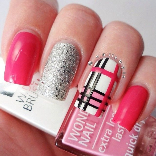 pink Burberry inspired nail design by nailsbyic