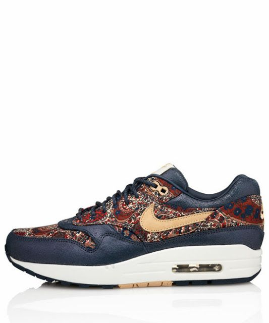 Nike x Liberty Navy Bourton Liberty Print Air Max 1 Trainers - ShopStyle