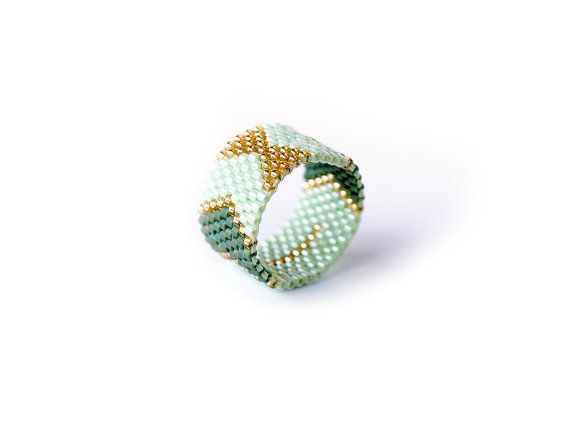 Arrows and Bows, Miyuki delica band ring, Chevron geometric, Mint green, Gold Peyote band ring, Handwoven, peyote stitch statement ring