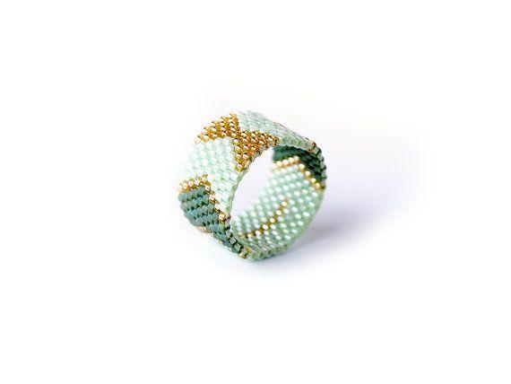 Arrows and Bows, Miyuki delica band ring, Chevron geometric, Mint green, Gold Peyote band ring, Handwoven, peyote stitch statement ring
