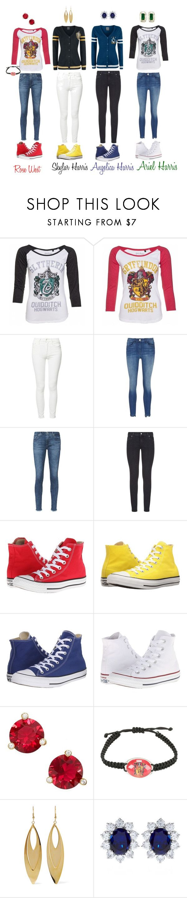 """Eclipse: Harry Potter Days"" by sweetshylovelyelle ❤ liked on Polyvore featuring Mother, 3x1, AG Adriano Goldschmied, Paige Denim, Converse, Kate Spade, Warner Bros., Kenneth Jay Lane, CARAT* London and Effy Jewelry"