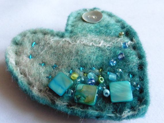 Hand felted Aqua Heart Brooch by LittleDebFelts on Etsy