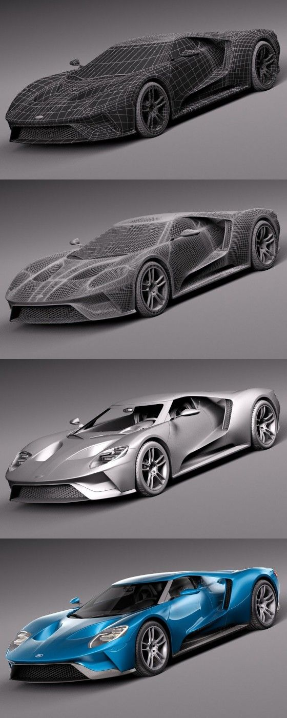 Ford GT official 3D Model - Wireframe and Rendering link: