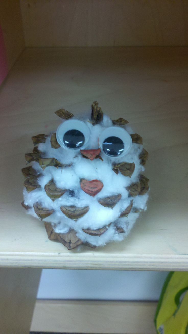 Baby Snow Owl- great cheap craft for students, holiday gifts, ornaments, or diorama. Find your own pine cones, tear apart cotton balls, use long cotton swab sticks to stuff cotton  into pine cones, paint the beak orange  glue on googlie eyes. Construction paper hat  mittens can be added to increase cuteness :)