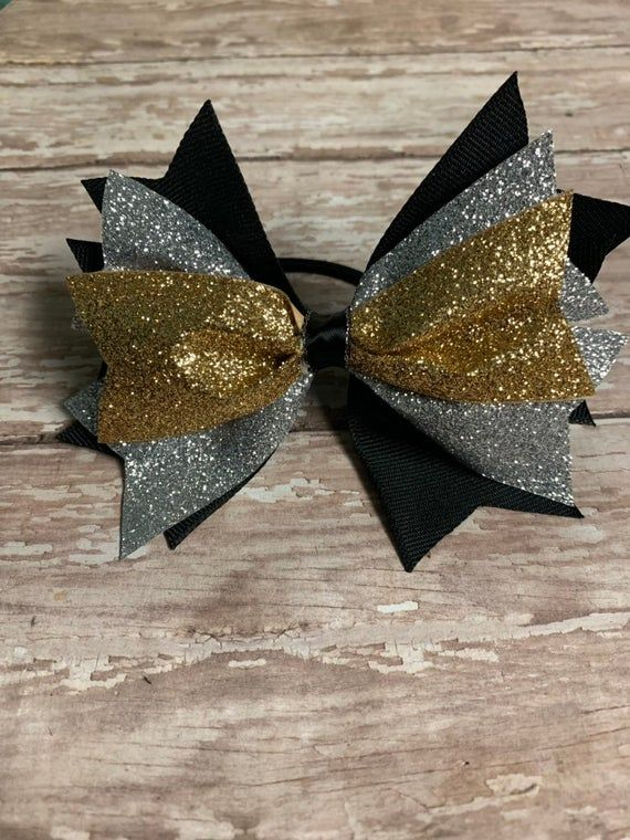 Black and Silver Football Bow
