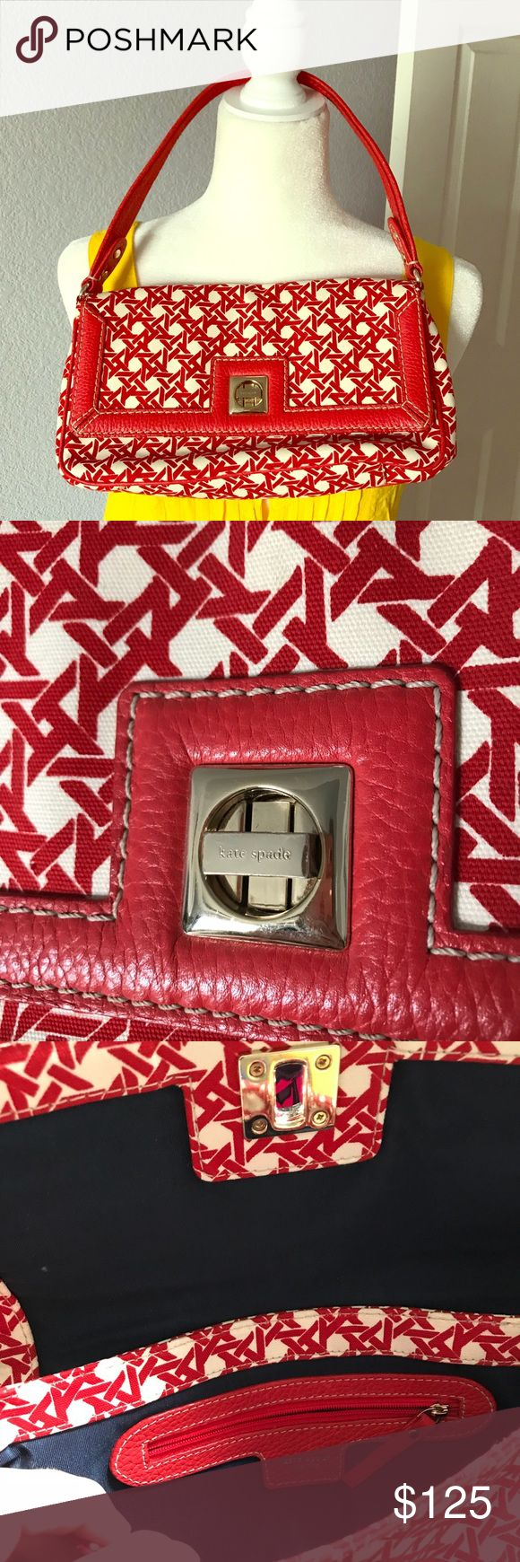 🌟PRICE DROP TODAY ONLY🌟 KATE SPADE PURSE Beautiful Kate Spade purse in excellent used condition. The only sign of wear is very minor scratches to the gold swivel clasp. Inside and outside fabric is pristine! Beautiful red and ivory. kate spade Bags Clutches & Wristlets