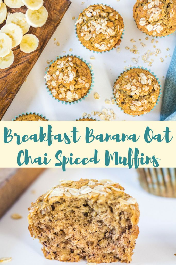 Banana Oat Chai Spiced Muffins Simple, healthy and fluffy breakfast muffins with banana, oats and chai tea #breakfastmuffin #bananaoatmuffin #chaispicedmuffin #breakfastbananaoatchaispicedmuffinrecipe #healthymuffin