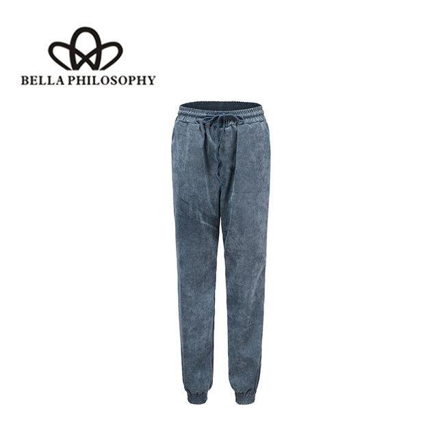 2018 Autumn Women'S Wear High Waist Trousers Corduroy Belt Trousers Casual Slack Trousers PN002ZB5 XL