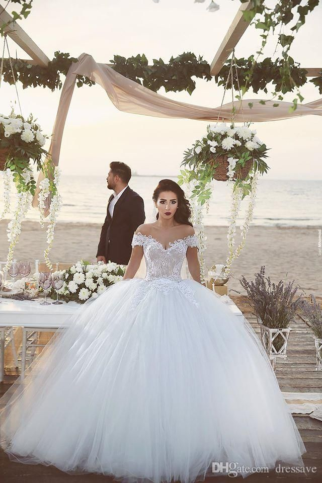 2016 Said Mhamad Off the Shoulder V Neck Lace Appliques Ball Gown Wedding Dresses 2016 Bride Gowns Lace Up Back Court Train BA1007