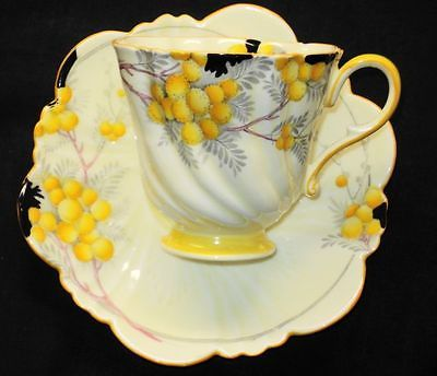 ROYAL PARAGON YELLOW CREAM ACACIA TEXTURE ART DECO TEA CUP AND SAUCER